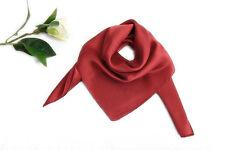 Small Square Silk Satin Scarf Solid Plain Red Color XFJ307