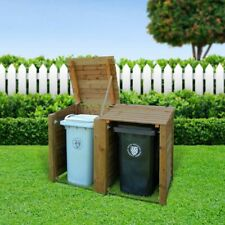 High Quality Bespoke Timber Wheelie Bin Store for 2 Bins in Light or Dark Rustic