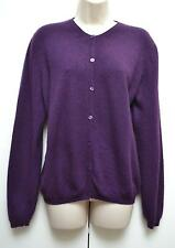 EWM Ladies Cardigan 100% Pure Cashmere Purple L Large UK 16 / EU 44