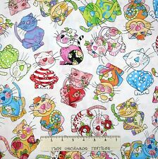 Loralie Designs Fabric - Rainbow Calico Cats Toss White - Cotton YARD