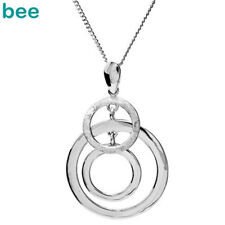 New 925 Sterling Silver 3 circle Pendant chain Necklace 35132