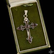 Antique Vintage Deco Sterling Silver 9 Ct Bohemian Garnet Cross Necklace Pendant