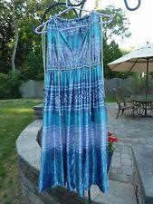 """Women's Summer Dress .. 'Small""""....Aqua & Multi color- design...Made in India"""