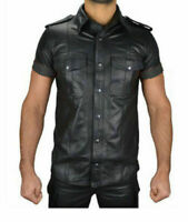 Mens Boys Hot Police Uniform Shirt Genuine Soft Lambskin Leather Shirt All Sizes