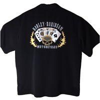 Harley Davidson Mens Shirt SizeXL Black with Skull Las Vegas Short Sleeve (C)