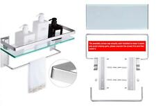 Vdomus Tempered Glass Bathroom Shelf with Towel Bar Wall Mounted Shower...
