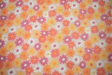 "Vintage 60s 70s Osman Floral Kitsch Cotton Fabric Sheet 99""L x 67""W"