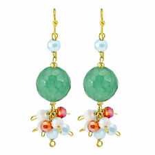 Vibrant Fiesta of Colorful Green Jade and Crystals Brass Dangle Earrings