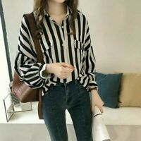 Womens Chiffon OL Stripe Shirt Tops Button Down Lapel Long Sleeve Blouse Thin