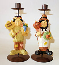 """Thanksgiving Indian & Pilgrim taper candle holders 9"""" tall vintage"""