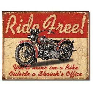 Sign - Ride Free Novelty Motorcycle Sign Man Cave Garage Shed Tool Room Mens Gif