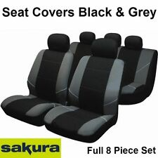 Universal Neo coche cubiertas de asiento Negro Y Gris Lavable Airbag seguro completa 8 pieza set