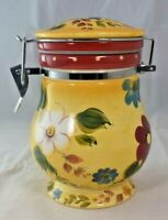 "Oneida Kitchen - Sunset Bouquet - 7.5"" Hand Painted Canister w/Hinged Lid"