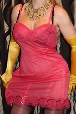 "S9 Vintage St. Michael coral red bri nylon&lace full slip petticoat  Bust 38"""