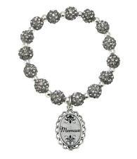 Memaw Black Diamond Gray Jeweled Beads Crystal Stretch Bracelet Jewelry Gift