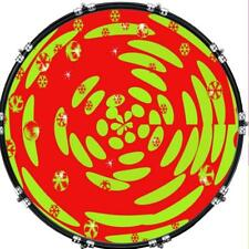 """20"""" Custom Bass Kick Drum Front Head Graphical Graphic Orange and Lime Psycho"""