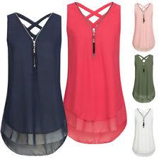 Womens Sleeveless Loose Blouse Casual Shirt Chiffon Vest Tops T-Shirt Summer