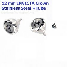 New ! 12 mm Watch Crown Stainless Steel Screw Down +Tube  ( INVICTA Watches )