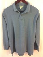 VTG LL BEAN Men's Double L Polo Long Sleeve Shirt Blue Large Made in USA