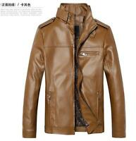 Korean Mens Motorcycle PU Leather Coats Slim Stand Collar Outwear Casual Jackets