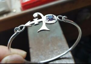 Prince Symbol BANGLE Bracelet - with Purple Stone - Sterling Silver - Handmade