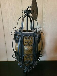 Vintage Spanish Revival Swag Lamp Hanging Amber Panel Metal Scroll Gothic Light