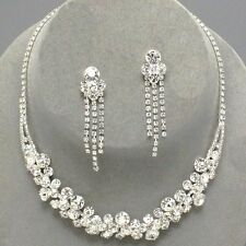 Clear diamante crystal necklace set sparkly rhinestone bridal prom brides 0316
