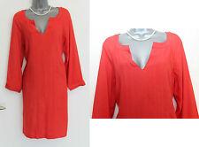 MONSOON Red Orange Long Sleeve Short Tunic Dress UK 12 EU 40 Casual Formal
