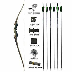 "60"" Longbow Arrow Set Takedown Archery Wooden Riser American Target Shoot Hunt"