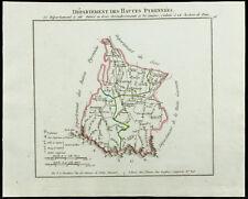 1802 - Carte ancienne département des Hautes Pyrennées (Hautes-Pyrénées) de Chan
