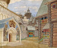 Ivan Bilibin Russian Village Giclee Art Paper Print Poster Reproduction