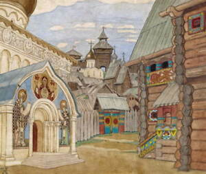 Ivan Bilibin Russian Village Giclee Art Paper Print Poster Reproduction