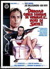 DRACULA CERCA SANGUE DI VERGINE MANIFESTO CINEMA MORRISSEY HORROR 1974 POSTER 2F