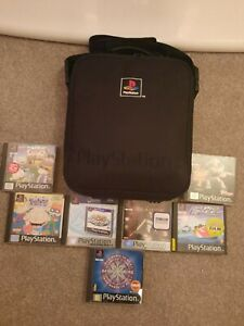 Sony playstation 1 games bundle and carry bag.