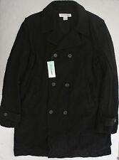 COMME DES GARCONS mens Black Pea Coat NWT L crinkle wool Open underarms SHIRT