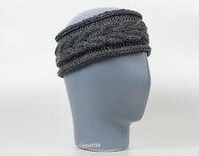 Stirnband Kopfband Haarband Ohrenband Ohrenwärmer Mütze grau Wolle Zopfmuster M1