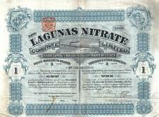 Chile UK GB 1895 The Lagunas Nitrate Company 1 share £5 Uncancelled coupons Deco