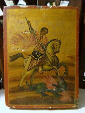 Antique 19th Century Greek Icon Agiografia Agios Georgios St George Hand Painted