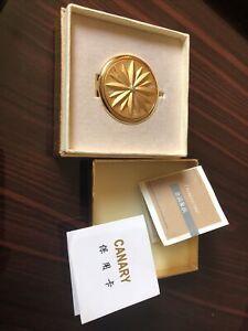 vintage 24 karat gold plated compact. iob. Amita.  Damascene.  Mirror