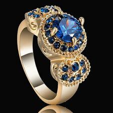 Size 7 Gold Rhodium Wedding Ring Engagement Blue CZ Gemstones Princess Halo