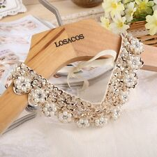 Women Fashion Pearl Flower Beads Sequins Fake Collar Choker Necklace Party