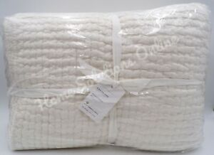 Pottery Barn Pick Stitch Cotton Linen Quilt King Cal King Classic Ivory #9098