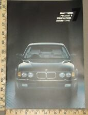 1991 BMW Price List and Specifications 7 Series Brochure Original English