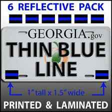 6 THIN BLUE LINE License Plate Stickers Police Car Truck Auto Tag Decals Vehicle