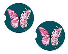 Flower Butterfly Rubber Car Coasters For Drink Absorbent Car Cup Holder SET OF 2