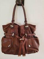 B. MAKOWSKY Whiskey Leather Belted LARGE Carryall Tote Shoulder Bag