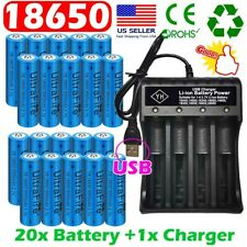 20X UltraFire 18650 Batteries Li-ion Rechargeable 3.7V Battery Chargers US Stock