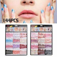 144pcs Mixed False Nail Tips Artificial Fake Nails Art Acrylic Manicure Gel.`
