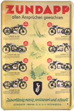 Blechschild 20x30 Zündapp Programm Kult Motorrad Werbung Plakat Werkstatt Schild