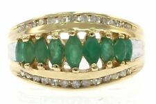 Estate Genuine Emerald and Diamond Ladies Ring in 14kt Yellow Gold